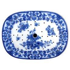 """1855 Flow Blue FR Pratt """"Shusan"""" Prattware Meat Drainer for Platter"""