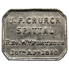 1850 Rev. Porteus Spittal Church Communion Token, Northumberland England