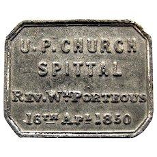 1850 Rev. Porteus Spittal Presbyterian Church Communion Token, Northumberland UK England