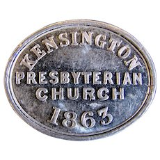 1863 St. John's Kensington Presbyterian Church Communion Token, London
