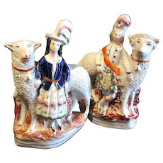 1860's Pair of Victorian Staffordshire Figures of Scottish Children w/ Large Sheep