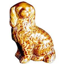 c. 1900 Vintage Treacle Honey Glaze Brown Staffordshire Dog Figure, Slip Cast Spaniel