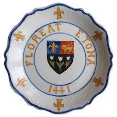 c. 1900 Floreat Etona 1441 Eton College England Faience Armorial French Plate, Scarce