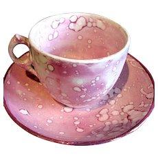 1820-1850's Sunderland Pink Splash Lustreware Child's Miniature Cup & Saucer