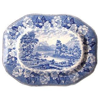1830's Georgian era Welsh Castle Scene Blue & White Platter
