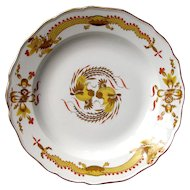 """1940-50's  Meissen Marked 10"""" Yellow Dragon Red Dot Accent Oriental Plate"""