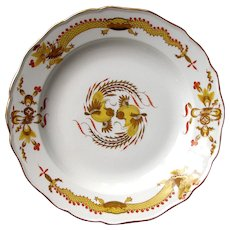 "1940-50's  Meissen Marked 10"" Yellow Dragon Red Dot Accent Oriental Plate"