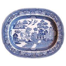 1832 Robinson & Wood Blue White English Willow Ironstone Transferware Platter