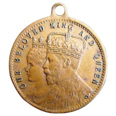 1911 King George, Queen Mary Coronation Royal Souvenir Copper Coin Medallion Medal