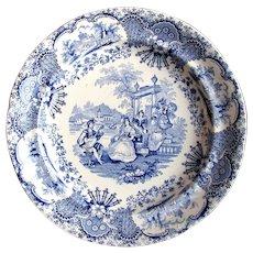 "1830's ""Spanish Beauties"" Deakin & Sons Transferware Blue White English Pearlware Plate"