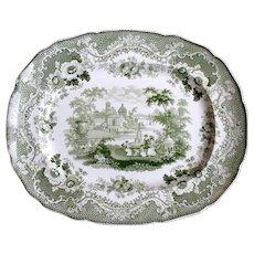 1840's Verona, Italy Green & White Transferware Staffordshire Platter