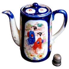 1880's Child's Japanese Geisha Ware Cobalt Blue Chocolate Pot Teapot