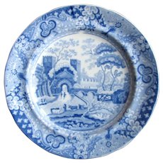 """1820's Clews Castle Pearlware Blue & White 6"""" Cake Plate"""