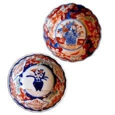1890's Oriental 2 Japanese Arita Imari Meiji Period Porcelain Rice Bowls
