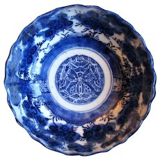 1860's Deep Flow Blue Japanese Meiji Period Chinoiserie Porcelain Rice / Slop Bowl