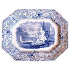 "1840 Joseph Clementson, Large 17"" ""Sydenham"" Victorian Mourning Platter, English Transferware Blue & White"
