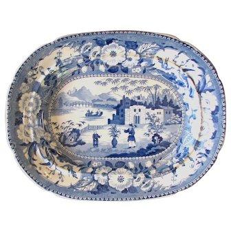 1820's Blue White Chinese Flowering Pot or Gardener Pearlware Blue & White English Platter