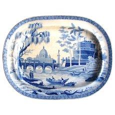 "1815 Spode Georgian era Blue & White Transferware ""Rome Tiber"" Platter"
