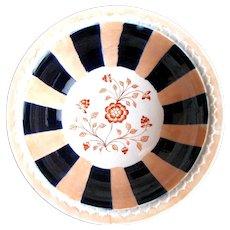 1890 Victorian Staffordshire Striped Pink Orange Ironstone Fruit Bowl