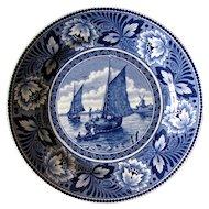 1950's Dutch Delft Societe Ceramique Blue White Sailboat Wall Plate