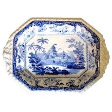 "1830 Minton Tiny ""Chinese Marine"" Blue White Tea Tray Biscuit Platter"