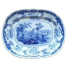 """1830's Huge Minton """"Chinese Marine"""" Blue & White Transferware Platter"""