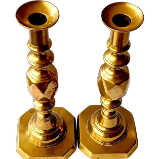 """1897 """"Queen of Diamond"""" Brass Candlesticks by Clews for Queen Victoria's Jubilee"""