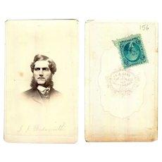 1860's J.J. Wadsworth Civil War era CDV w/ Revenue Stamp, Chicago, Illinois USA