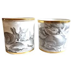 c. 1805 2 Rare early Spode Bat Printed Rabbit Coffee Cans or Mugs