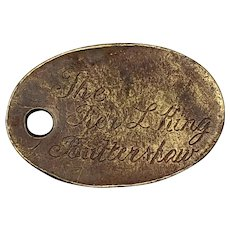 1880 Rev Lucius King's engraved Brass Key Fob, Medal, Token Buttershaw, England