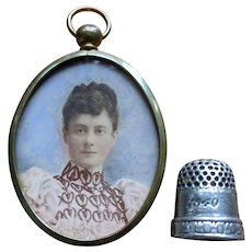 1890's English Victorian Miniature Painted Watercolor Portrait of a Woman