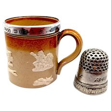 c 1900 Miniature Doulton Lambeth Harvestware Tankard / Coffee can Silver Rim