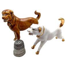 19th c Miniature Tough Little Victorian Scrapper Dog Figures