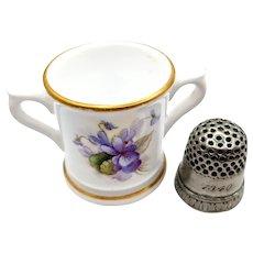 1922 Miniature Royal Worcester Violets 2 handle Porcelain Loving Cup