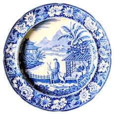 c. 1800 Oriental Man on Mule Blue & White Pearlware Transferware Plate