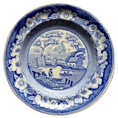 """1830's marked """"Wild Rose"""" Blue & White Pearlware Staffordshire Transferware Plate"""