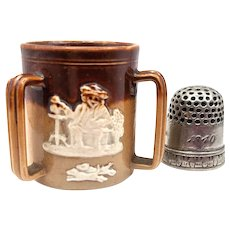 c. 1900 Doulton Lambeth Miniature Harvestware English Tyg 3 handle Tankard