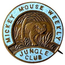 1930's British Disney Mickey Mouse Weekly Jungle Club Advertising Pinback Button