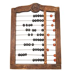 1850's English Children's Wooden Abacus, Redware face: Victorian Schoolhouse Toy
