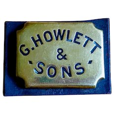 19th c. G. Howlett & Sons Mounted Advertising Horse Brass on Leather Slab