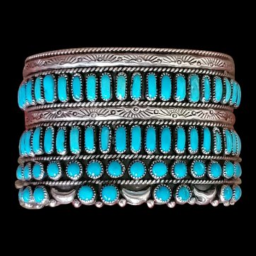 Navajo Native American Sleeping Beauty and Sterling Cuff F M Begay