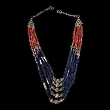 5 strand faceted Lapis and Coral necklace.