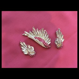 Fabulous MARCEL BOUCHER Wing Design Brooch Earrings - Red & Crystal Rhinestones