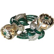 Glorious Iconic Coro Enamel (Green) QUIVERING CAMELLIA Duette Brooch 1930s