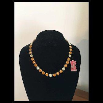 Luxurious Vintage SCHIAPARELLI Golden Amber & Citrine Rhinestone Necklace - Orig. Tag