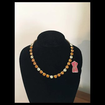 Luxurious Vintage SCHIAPARELLI Golden Amber & Citrine Rhinestone Necklace - Orig. Tag