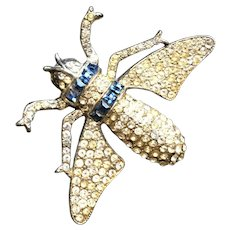 Rare Wonderful Vintage REINAD Insect Figural Brooch Pin 1940s