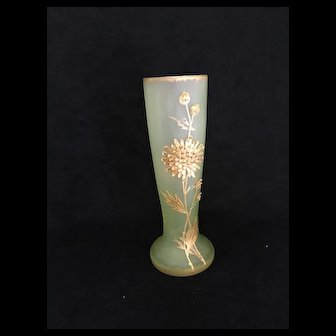Antique MONT JOYE / LEGRAS Art Nouveau Satin Green Vase w/ Heavy Gold Decoration