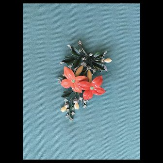 Divine 1940s Vintage CROWN TRIFARI Enamel Flower Brooch - Alfred Philippe
