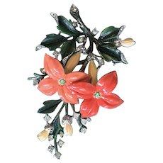 Divine 1940s Vintage CROWN TRIFARI Enamel Flower Brooch - Alfred Philippe